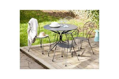 Salon de jardin 4 places: table ronde en acier avec chaises agatha gris