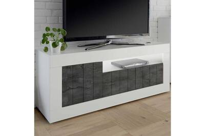 Meuble Tv 3 Portes Blanc Beton Cire Fonce Lubio L 138 X L 42 X H 56 Neuf
