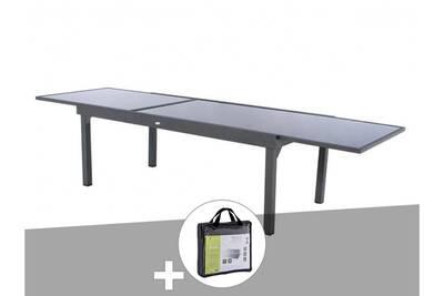 Table extensible rectangulaire en verre piazza 8/12 places gris anthracite