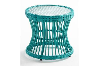 Table de jardin AUCUNE Table d\'appoint de jardin ronde verre et ...