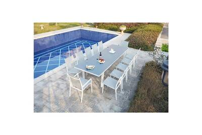 Le refinado : salon de jardin extensible 12 personnes avec 2 fauteuils et  10 chaises en aluminium