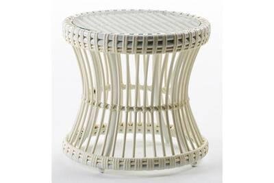 Table d\'appoint de jardin ronde verre et rotin synthétique blanc leyla