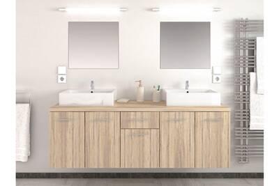 Meuble de salle de bain bois clair 2 vasques 2 miroirs nafti