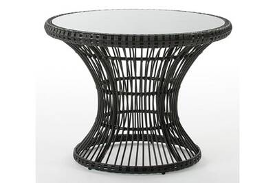 Table de jardin AUCUNE Table de jardin ronde verre et rotin ...