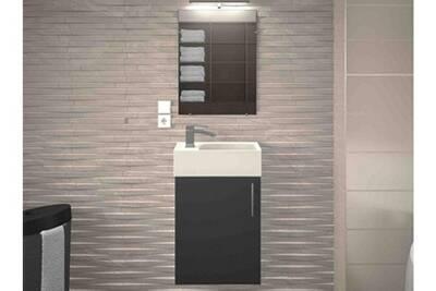 Meuble de salle de bain bois gris mat 1 vasque micky 40 cm