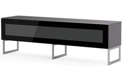 nouvelle arrivee 633a5 39d0b Meuble tv verre infrarouge noir et bois gris marina 160 cm