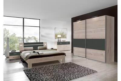 Ensemble chambre adulte complète imitation chêne hickory, rechampis  graphite 160 x 200 cm -pegane-