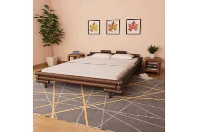 Lit en bambou 160 x 200 cm marron foncé