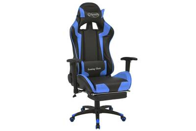 Chaise de bureau inclinable avec repose pied bleu