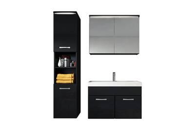 Meuble de salle de bain de paso 80x40cm lavabo noir brillant – armoire de  rangement meuble lavabo armoire miroir