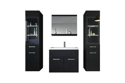 Meuble de salle de bain rio xl led 60 cm lavabo noir brillant - armoire de  rangement meuble lavabo