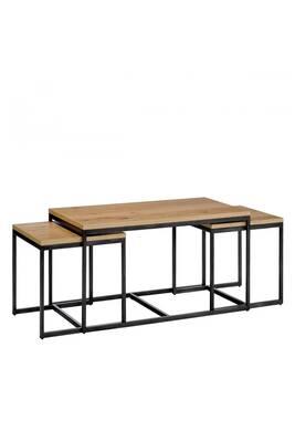 prix compétitif bacc6 5dcb2 Temmelig - 3 tables basses gigognes - couleur - bois clair / noir