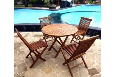 Salon de jardin table ronde 100 cm 4 chaises peignes