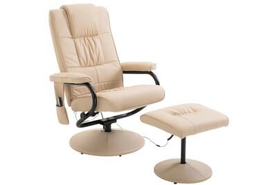 Fauteuil massant HOMCOM Fauteuil de massage vibration electrique relaxation avec chauffage crème