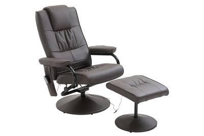 meilleur site web 22030 42120 Fauteuil de massage et relaxation électrique chauffant pivotant inclinable  avec repose-pied chocolat
