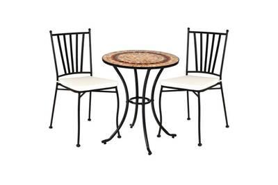 Ensemble table mosaïque & chaises fer noir - embudu
