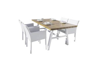 Ensemble table & chaises bois/aluminium/tissu blanc - solor - l 180 x l 100  x h 75 - neuf