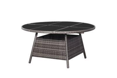 Table de jardin gris 150 x 74 cm résine tressée