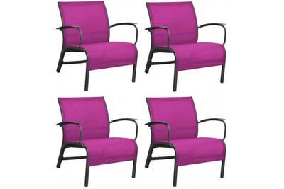 Fauteuil lounge en aluminium linea (lot de 4) • mobilier extérieur