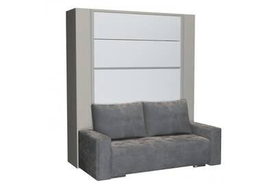Beluga Sofa Armoire Lit Escamotable 140cm Finiton Gris Et Blanc Canape Microfibre Grise