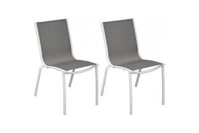 Chaise aluminium textilène linea (lot de 2) • mobilier extérieur