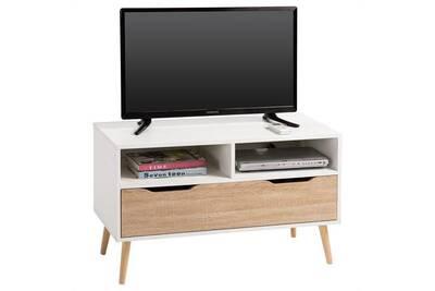 photos officielles fa7a0 8e17e Meuble tv genova banc télé 90 cm style scandinave design vintage avec 1  tiroir et 2 niches, décor blanc mat et chêne sonoma