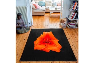 Tapis rectangulaire velours antidérapant imprimé animaux lys orange - 135 x  200 cm