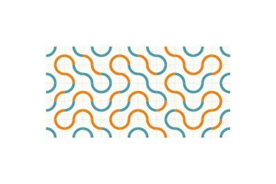 Tapis en vinyle moderne - m-015, 97x48cm, blanc-bleu-orange,  blanc-bleu-orange