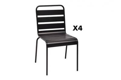 Lot de 4 chaises de jardin arlinda en métal - noir