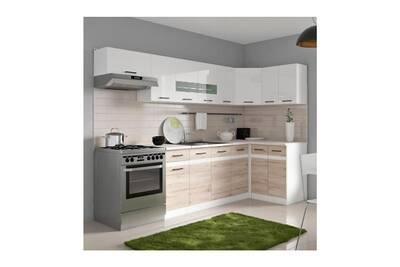 Meuble Cuisine D Angle.Junona Cuisine D Angle Complete Avec Eclairage Led Et Plan De Travail L 3m40 Blanc Brillant Et Decor Chene San
