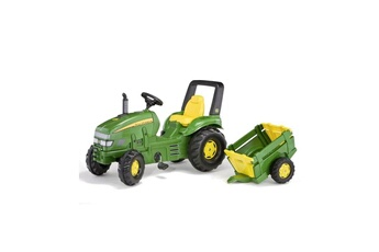 Véhicule à pédales ROLLYTOYS Rolly toys tracteur a pédales john deere + remorque