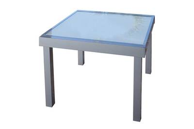 Table de repas carrée extensible verre/aluminium gris - rimalo