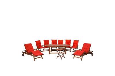 Ensemble de jardin en acacia avec table ovale et coussin rouge clair toscana