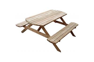 Table pique-nique avec bancs en bois rondo • mobilier extérieur