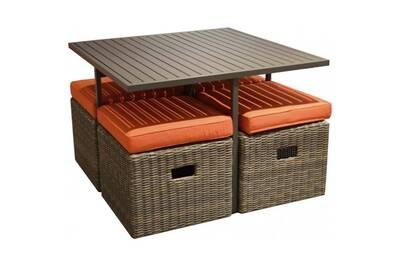 Salon de jardin en aluminium et résine tressée cubio • mobilier extérieur