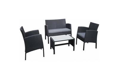 Salon détente en résine tressée ibiscus • mobilier extérieur