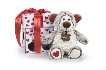 Peluches Famosa Softies Famosa softies - 760017470 - happy valentine 32cm ours en peluche avec boîte-cadeau