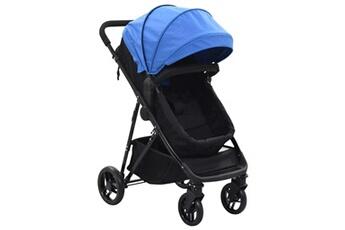 Poussette 3 roues Vidaxl Poussette/landau bébé 2-en-1 bleu et noir acier