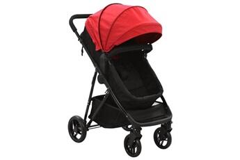 Poussette 3 roues Vidaxl Poussette/landau bébé 2-en-1 rouge et noir acier