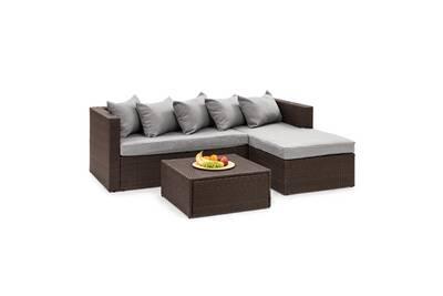 Theia lounge salon de jardin 5 places en résine tressée - coussins housses  gris clair + poly rotin marron