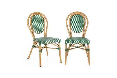Montpellier gr lot de 2 chaises de jardin style café bistrot - aluminium &  résine tressée vert