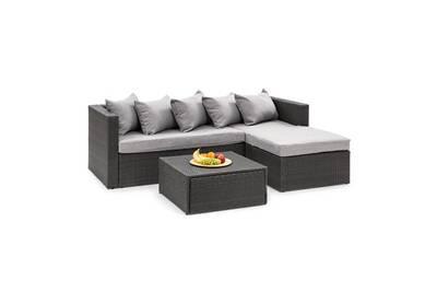 Theia lounge salon de jardin 5 places en résine tressée - coussins housses  gris clair + poly rotin noir