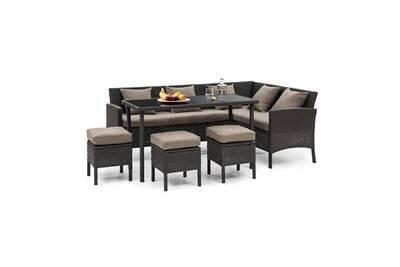 Titania lounge salon de jardin 7 places en résine tréssée - housses marron  & polyrotin noir
