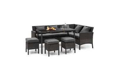 Titania lounge salon de jardin 7 places résine tréssée - table à manger ,  canapé & 3 poufs - polyrotin noir & gris foncé