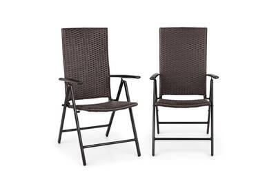 Estoril lot de 2 chaises de jardin pliantes - cadre aluminium & polyrotin  résine tressé - marron