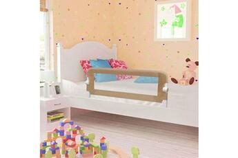 Barrière de lit Vidaxl Barrière de lit enfant taupe 102x42 cm polyester