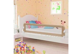 Barrière de lit Vidaxl Barrière de sécurité de lit enfant taupe 180 x 42 cm polyester