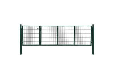 Portail de clôture de jardin avec poteaux acier 350x100 cm vert