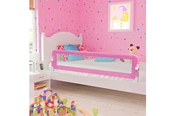 Barrière de lit Vidaxl Barrière de sécurité de lit enfant rose 180x42 cm polyester