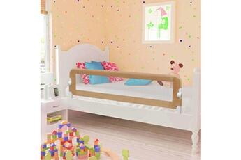 Barrière de lit Vidaxl Barrière de lit enfant taupe 150x42 cm polyester